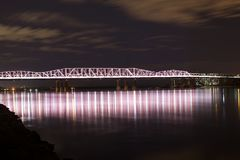 Memphis Old Bridge Nightscape. The Memphis & Arkansas Bridge, also known as the Memphis-Arkansas Bridge or Memphis-Arkansas Memorial Bridge, is a cantilevered Royalty Free Stock Images