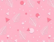 Memphis Pattern Background avec des feuilles Conception 80-90s de mode Images libres de droits
