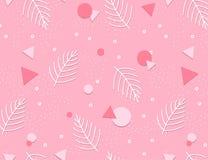 Memphis Pattern Background con le foglie Progettazione 80-90s di modo Illustrazione di Stock