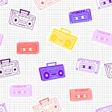 Memphis pattern cassettes. Memphis pattern from cassettes and tape recorders in the style of the 80`s on a background with dots stock illustration