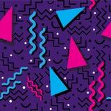 Memphis Pattern enrrollado en púrpura Imágenes de archivo libres de regalías