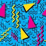 Memphis Pattern funky su ciano Fotografie Stock Libere da Diritti