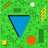 Memphis Pattern funky su verde Fotografia Stock Libera da Diritti