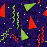 Memphis Pattern génial sur le bleu Image libre de droits