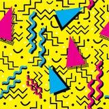 Memphis Pattern génial sur le jaune Images libres de droits