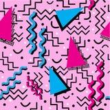 Memphis Pattern génial sur le rose Image stock