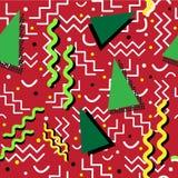 Memphis Pattern génial sur le rouge Photos libres de droits