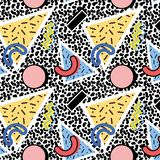 Memphis pattern 80s. Memphis pattern of geometric abstract shapes, different colors on a dark background in the form of textures in the style of the 80s, 90s vector illustration