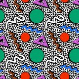 Memphis pattern 80s. Memphis pattern of geometric shapes circles triangles waves of different colors on a background of black lines in the style of the 80s stock illustration