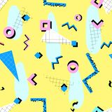 Memphis pattern 80s. Memphis pattern of geometric shapes, triangles, grids, squares, blue, pink, black on a yellow background in the style of the 80s royalty free illustration