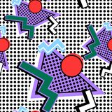 Memphis Pattern 80s. From the composition, on a background of dots stock illustration