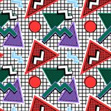 Memphis Pattern 80s. Of geometric shapes, on the background of cells stock illustration