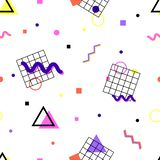 Memphis pattern 80s. Memphis pattern of geometric shapes, waves, zigzags, squares, circles, triangles, grids on a white background in the style of the 80s royalty free illustration