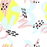 Memphis pattern 80s. Memphis pattern, seamless color of yellow, pink, blue, black spots, abstract style 80s vector illustration