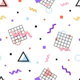 Memphis pattern 80s. Memphis pattern in the style of the 80s of the geometric shapes of different colors, swirls, grids, dots, circles, triangles on a white vector illustration