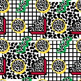 Memphis pattern 80s. Memphis pattern seamless from geometry with color stroke, against the background of cells and noise in the style of the 80s-90s stock illustration