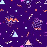 Memphis pattern 80s. Memphis pattern in the style of the 80s of the geometric shapes of different colors, swirls, grids, dots, circles, triangles on a blue stock illustration