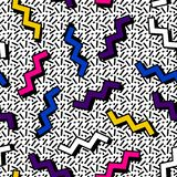 Memphis pattern 80s. Memphis pattern is simple, from zigzags with a shadow on a background of black lines in the style of the 80s vector illustration
