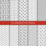 10 Memphis Patterns Set på vektorillustration Royaltyfria Foton