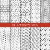 10 Memphis Patterns Set sull'illustrazione di vettore Fotografie Stock Libere da Diritti
