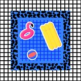 Memphis pool 80s. Memphis pool abstraction of flaminfo trampoline, ball, mattress, with a checkered background in the style of 80s stock illustration