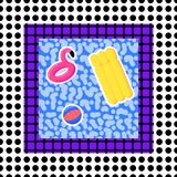 Memphis pool 90s. Memphis pool abstraction of flaminfo trampoline, ball, mattress, with dots on the background in the style of 80s vector illustration