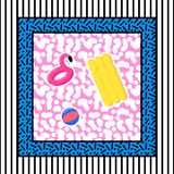 Memphis pool abstraction. Of flaminfo trampoline, ball, mattress, with lines on the background in the style of the 80s vector illustration