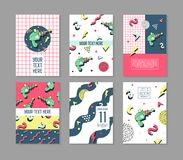Memphis Posters Set Space Theme. Hipster Abstract Trendy Backgrounds with Geometric Shapes. 80 -90s Fashion Cards. Brochures. Vector illustration Stock Photos