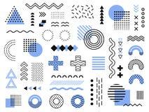 Memphis projekta elementy Retro ostra grafika, 90s wykazuje tendencję projekty i rocznika geometrycznego druku elementu ilustracy royalty ilustracja