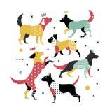 Memphis psy dla pokrywy na notatniku Obrazy Royalty Free