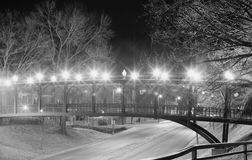 Memphis Riverside Drive Foot Bridge Black and White Stock Image