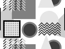 Memphis sömlös modell, svartvita geometriska former i stilen av 80-tal Punkter och prack linjer vektor stock illustrationer