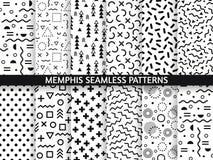 Memphis sömlösa modeller Skraj modell, retro mode80-tal och textur för 90-taltryckmodell Geometrisk diagramstil royaltyfri illustrationer