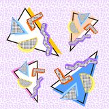 Memphis 80s set. Of triangles of different colors, with different shapes on the background of noise vector illustration