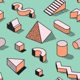 Memphis Seamless Pattern abstrato na moda com formas 3d geométricas Fundo da forma para a matéria têxtil, cópia, tampa, cartaz ilustração royalty free