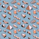 Memphis Seamless Pattern abstrato na moda com formas 3d geométricas Fundo da forma para a matéria têxtil, cópia, tampa, cartaz ilustração stock