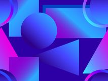 Memphis seamless pattern. Asymmetrical geometric objects gradient in the style 1980s. Vector. Illustration stock illustration