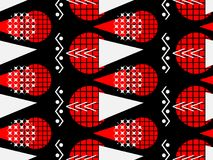 Memphis seamless pattern of black and red. Abstract chaotic background with geometric shapes. Vector Stock Image