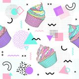 Memphis seamless pattern with cupcake and geometric different shapes 80`s-90`s style. Vector Illustration. Memphis seamless pattern with cupcake and geometric stock illustration