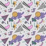 Memphis Seamless Pattern de moda abstracto Fondo geométrico de las formas del espacio Impresión retra 80s 90s de la moda del vint Foto de archivo