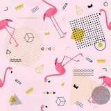 Memphis seamless pattern with flamingo and geometric different s royalty free illustration