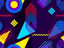 Memphis seamless pattern. Geometric elements memphis in the style of 80s. Bauhaus background. Vector. Illustration Stock Image