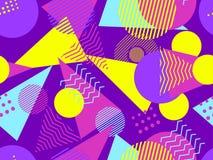 Memphis seamless pattern. Geometric elements memphis in the style of 80`s. Bauhaus retro. Vector. Illustration stock illustration
