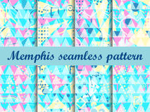 Memphis seamless pattern. Geometric elements memphis in the style of 80`s. Bright background with triangles. Vector illustration stock illustration