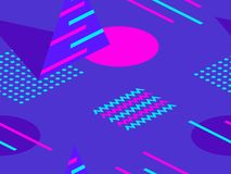 Memphis seamless pattern. Geometric elements memphis in the style of 80s. Isometric figures retro background. Great for brochures, promotional material royalty free illustration