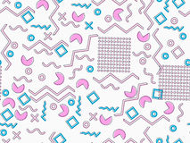 Memphis seamless pattern. Geometric elements memphis in the style of 80`s. Pink and blue tones. Vector Royalty Free Stock Images
