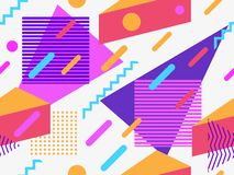 Memphis seamless pattern. Geometric elements memphis in the style of 80s. Points and dotted lines. Vector stock illustration