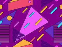 Memphis seamless pattern. Geometric elements memphis in the style of 80s. Points and dotted lines. Vector royalty free illustration