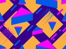 Memphis seamless pattern. Geometric elements memphis in the style of 80`s. Synthwave retro background. Retrowave. Vector. Illustration Royalty Free Stock Photo