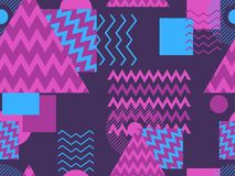 Memphis seamless pattern. Geometric elements memphis in the style of 80`s. Synthwave retro background. Retrowave. Vector. Illustration Royalty Free Stock Image